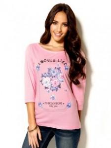 Camiseta con estampado de flores y mensaje