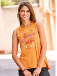 Camiseta sin mangas con estampado romántico floral