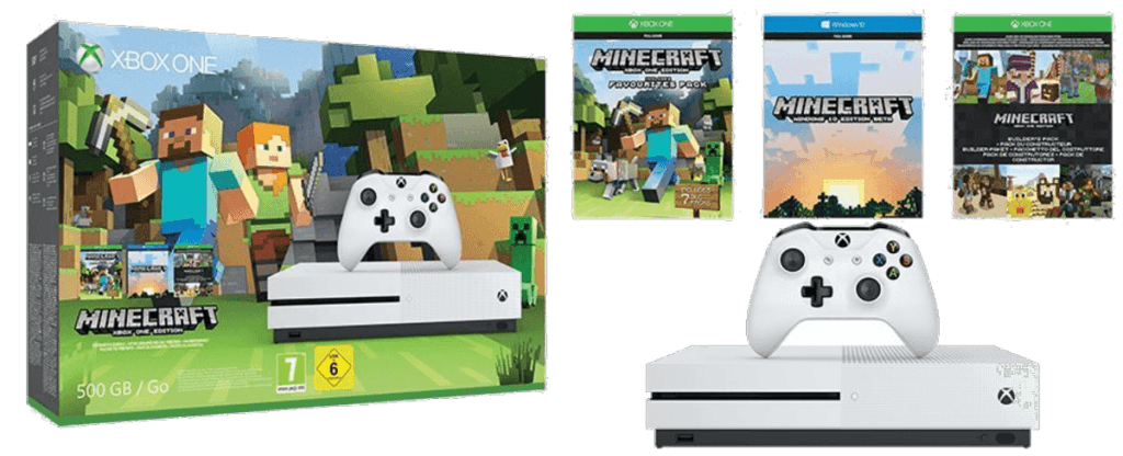 Consola Xbox One S blanca de 500Gb + Pack Minecraft