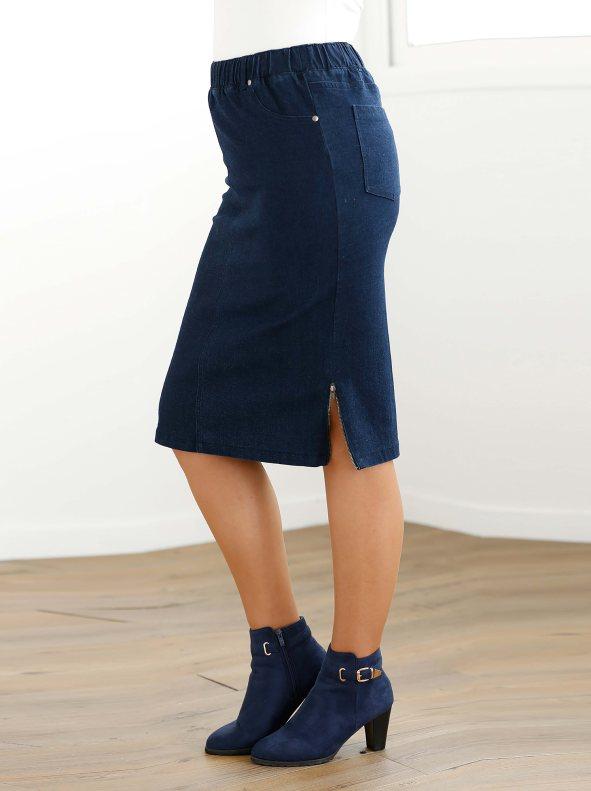 Falda vaquera con cintura elástica