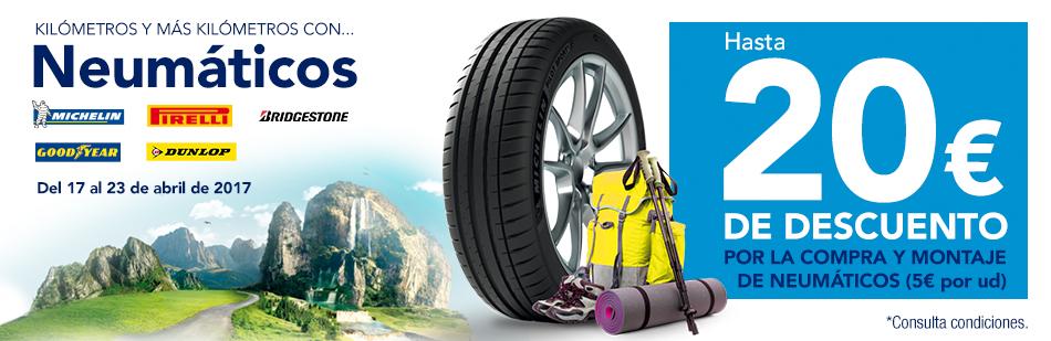 Hasta 20€ de descuento por la compra y montaje de neumáticos en Norauto