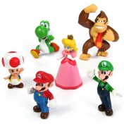 6pcs Mini Super Mario Bros 4  -  7cm Action Figures Doll Toy