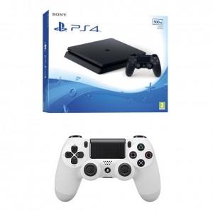 Lote consola PlayStation 4 Slim de 500 GB y DualShock 4 Glacier White V2 adicional