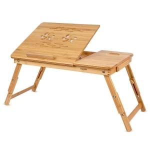 Mesa plegable de bambú para portátil Homfa