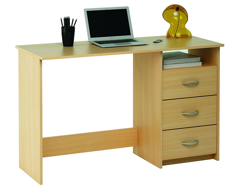 Mesa escritorio demeyere 1000 con tres cajones color haya for Mesas de escritorio amazon