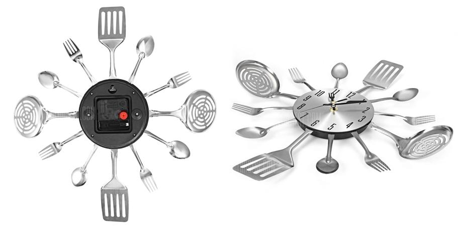 Reloj pared silencioso diseño utensilios cocina