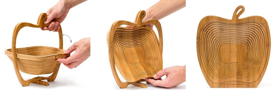 Frutero desplegable de bambú en forma de manzana Relaxdays