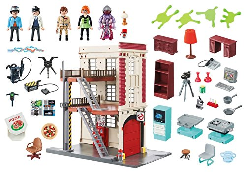 Cuartel parque de bomberos Ghostbusters Playmobil 9219 contenido