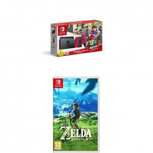 Pack Nintendo Switch con Super Mario Odyssey Bundle y el juego The Legend Of Zelda Breath Of The Wild