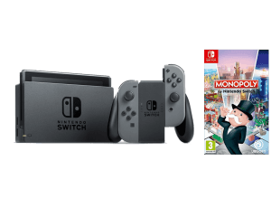 Pack consola Nintendo Switch con mandos Joy-Con color gris + juego Monopoly Switch