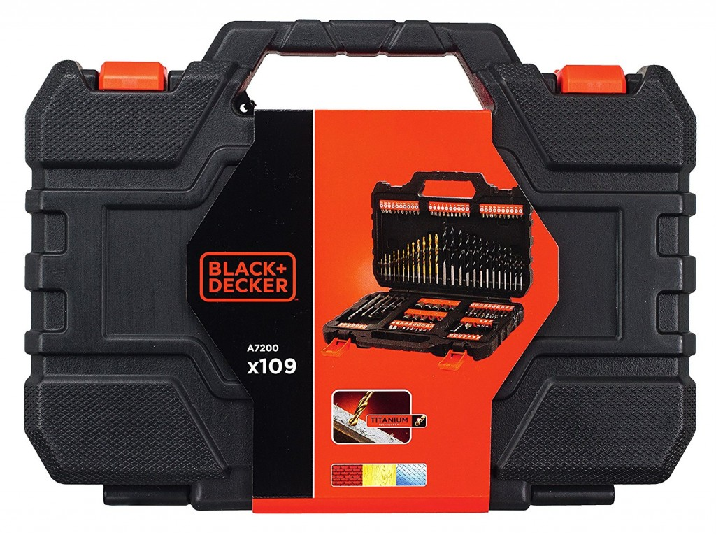 Pack de 109 piezas para atornillar y taladrar Black and Decker A7200