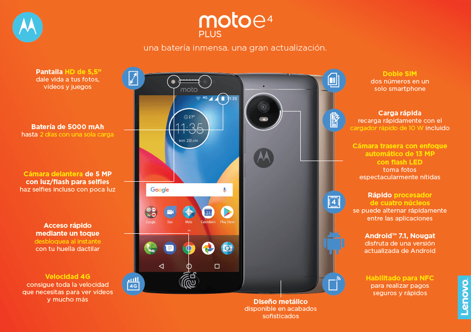 Smartphone Moto E4 Plus detalles