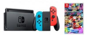 Pack Nintendo Switch con Joy-Con azul rojo y el juego Mario Kart Deluxe