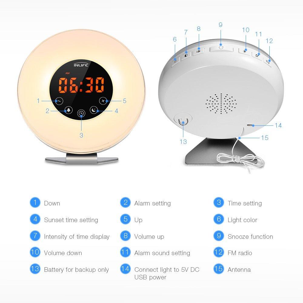 Despertador con luz simulación amanecer INLIFE EUE9 botones