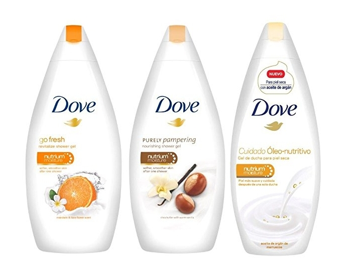 Pack de 4 botes de gel de ducha Dove de 500 ml