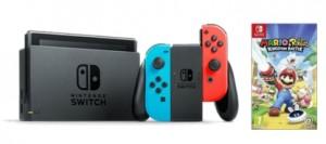 Consola Nintendo Switch con un mando Joy-Con rojo y otro azul