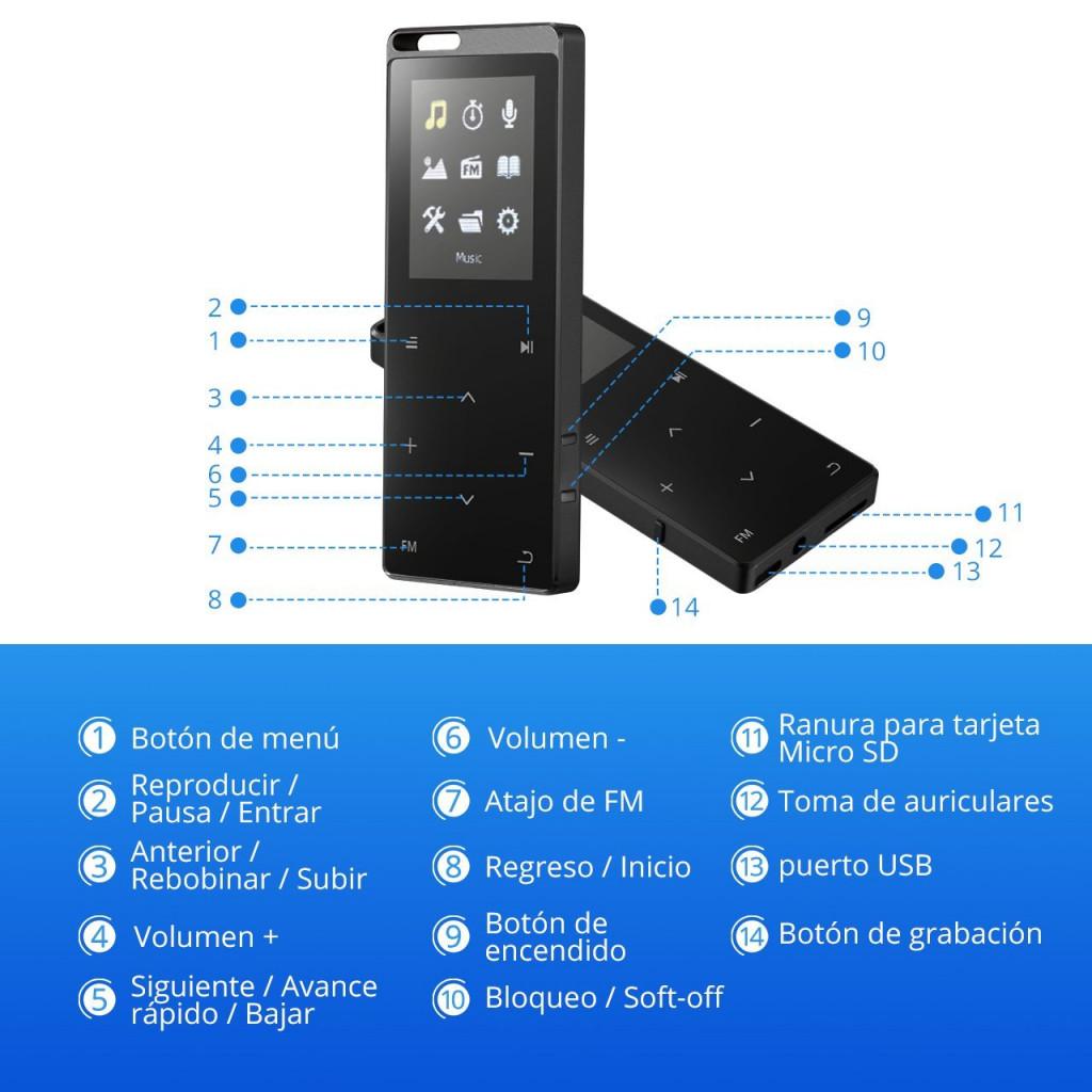 Reproductor de MP3 VicTsing YPGEBH150AB-ESAE2 botones