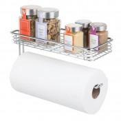 Portarrollos de papel de cocina de pared con bandeja mDesign