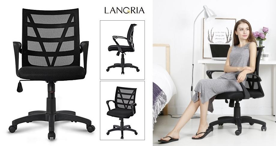 Silla de escritorio Langria LGR-6128801 negro