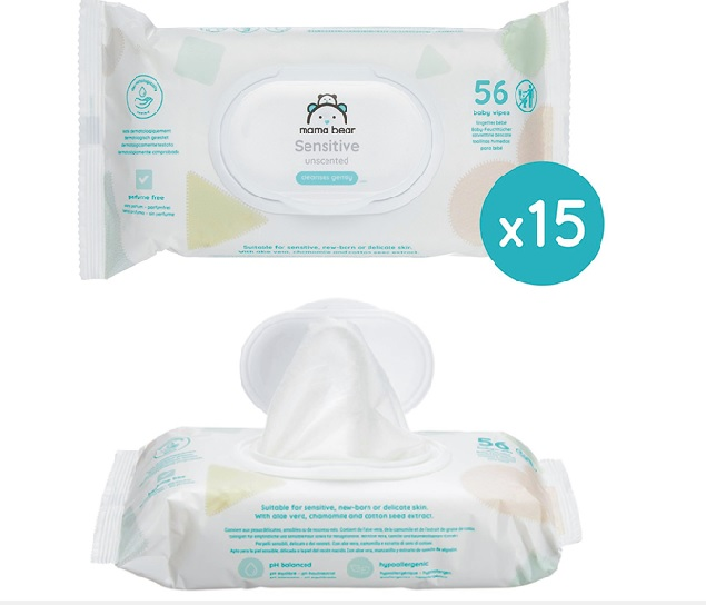 Pack de 15 paquetes de toallitas húmedas bebé Amazon Mama Bear Sensitive