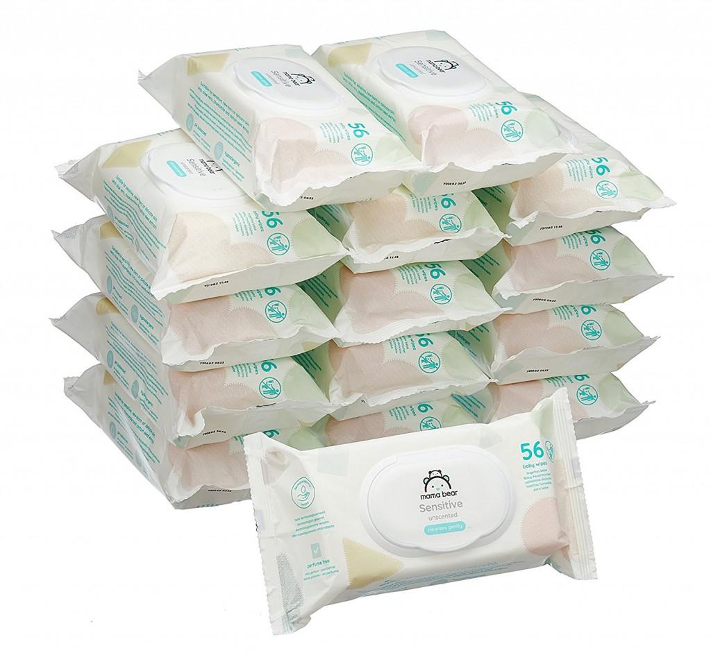 Pack de 15 paquetes de toallitas húmedas para bebé Amazon Mama Bear Sensitive