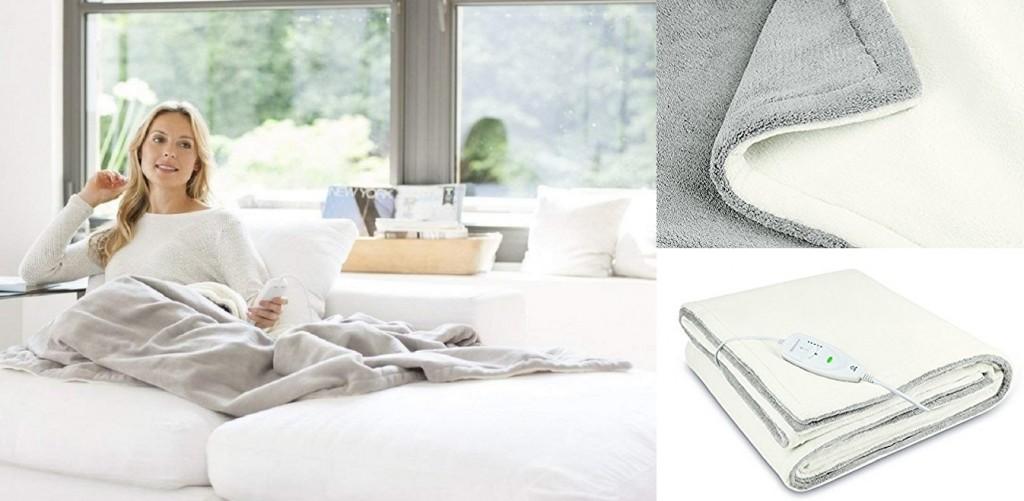 Manta eléctrica reversible Medisana HB675 color gris y blanco