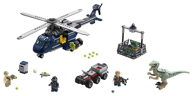 Persecución en helicóptero de Blue Lego Jurassic World 75928