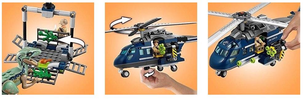Persecución en helicóptero de Blue de Lego Jurassic World 75928