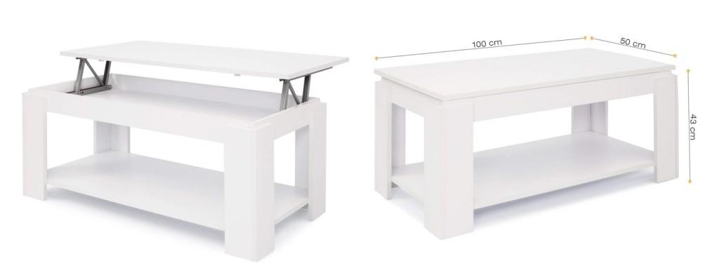 Mesa de centro elevable Comifort T09 blanca