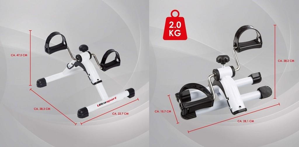 Minibicicleta estática plegable Ultrasport MPE 25 dimensiones