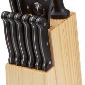 Juego de cuchillos de cocina y soporte de madera AmazonBasics