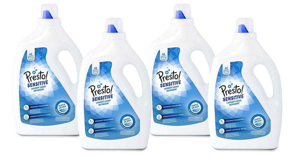 Pack 4 envases de detergente líquido Presto Sensitve