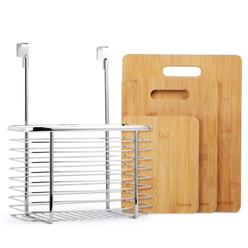 Juego de 3 tablas de cortar de bambú más soporte Homever