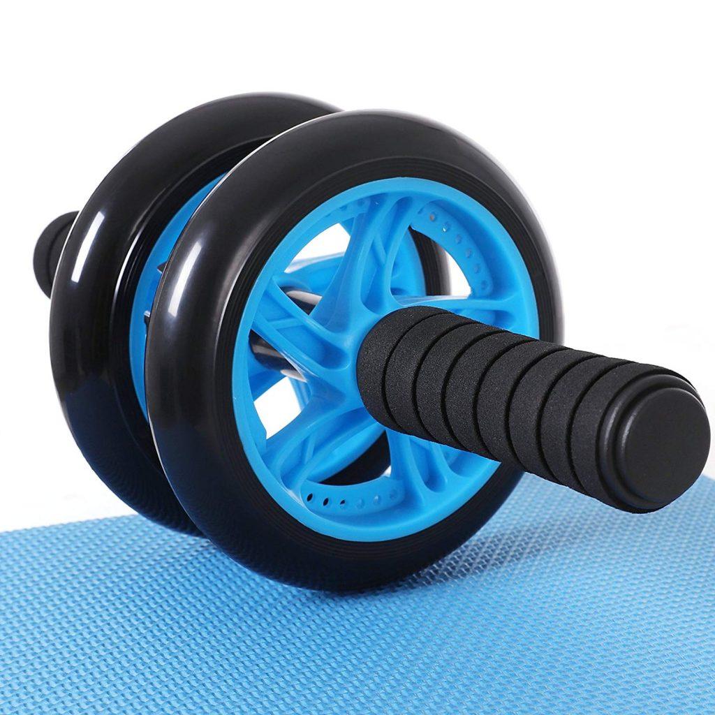 Rodillo para abdominales de dos ruedas, con alfombrilla, Songmics