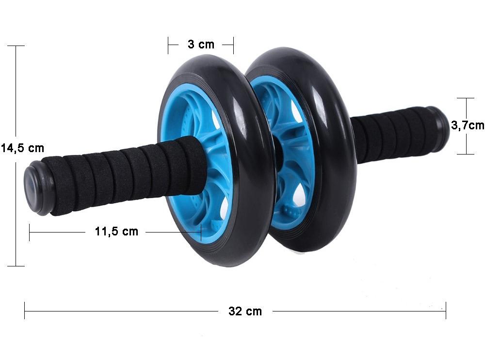 Rodillo para abdominales de dos ruedas, con alfombrilla, Songmics, medidas