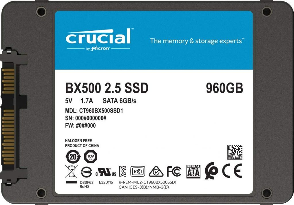 SSD Crucial BX500 de 960 Gb
