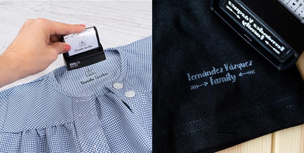 Sellos personalizados para marcar ropa, con tinta blanca o negra