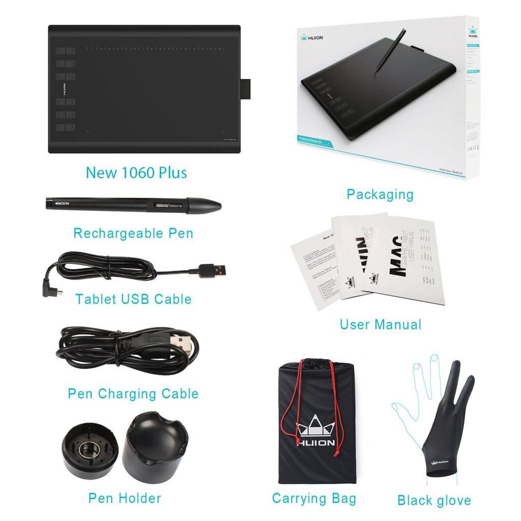 Tableta gráfica HUION New 1060 PLUS contenido