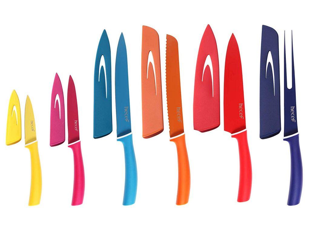 Juego cuchillos de colores con funda protectora hecef con funda
