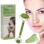Rodillo de jade para masaje facial y piedra guasha LDREAMAM