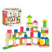 Cubo con 100 bloques de madera WOOMAX ColorBaby 40993