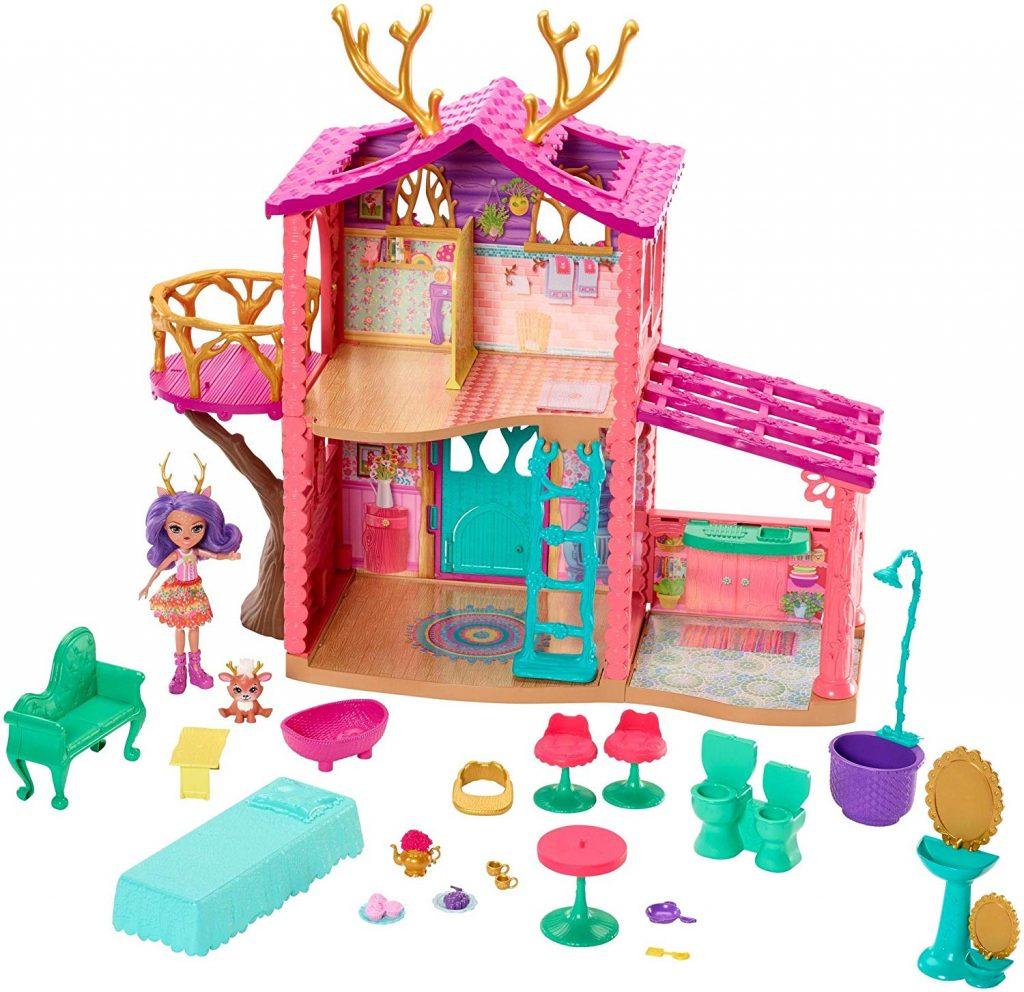 Supercasa del bosque y muñeca Danessa Enchantimals Mattel FRH50 contenido
