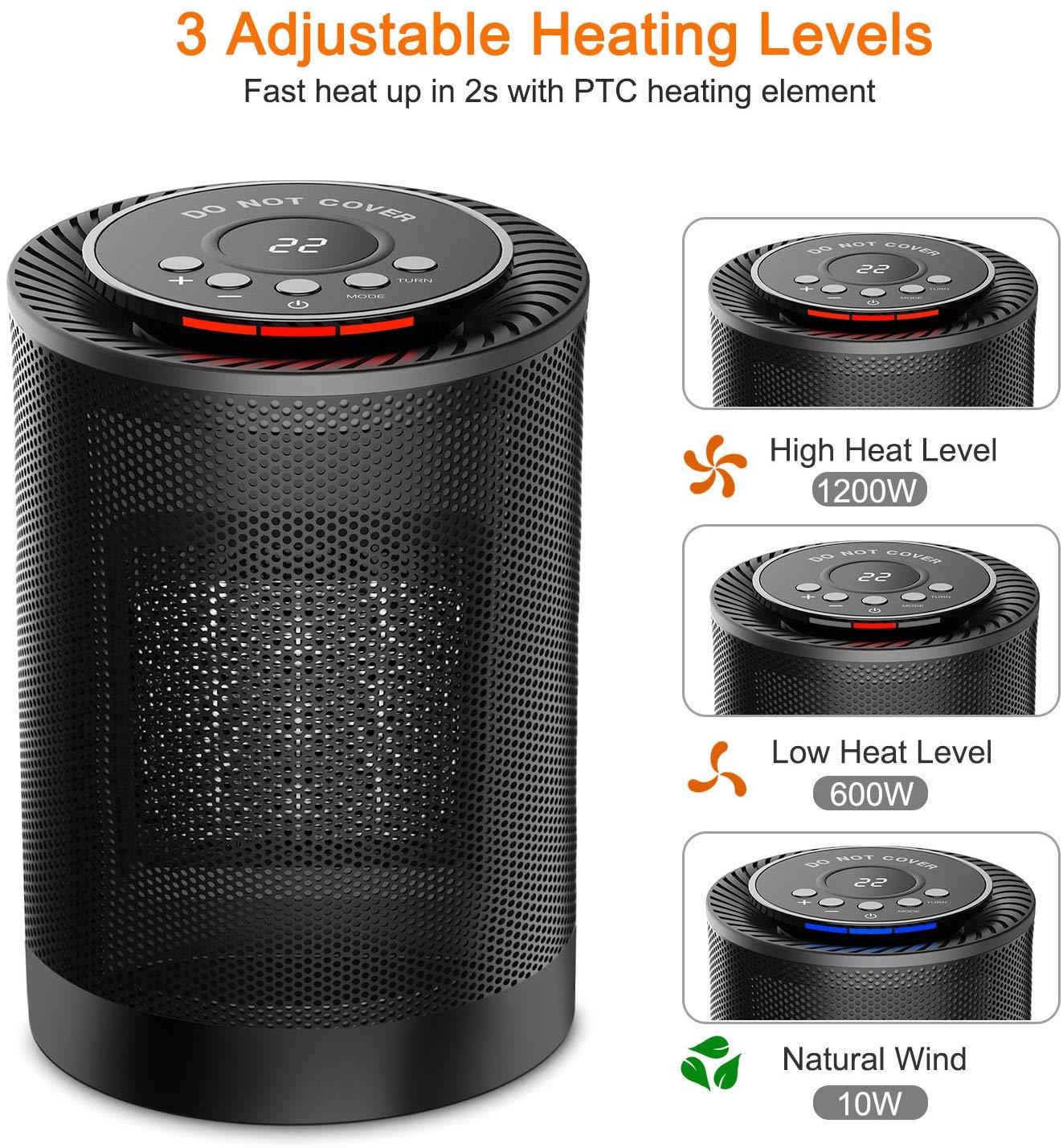 Calefactor eléctrico COMLIFE Ptc2018 tres modos de iluminación