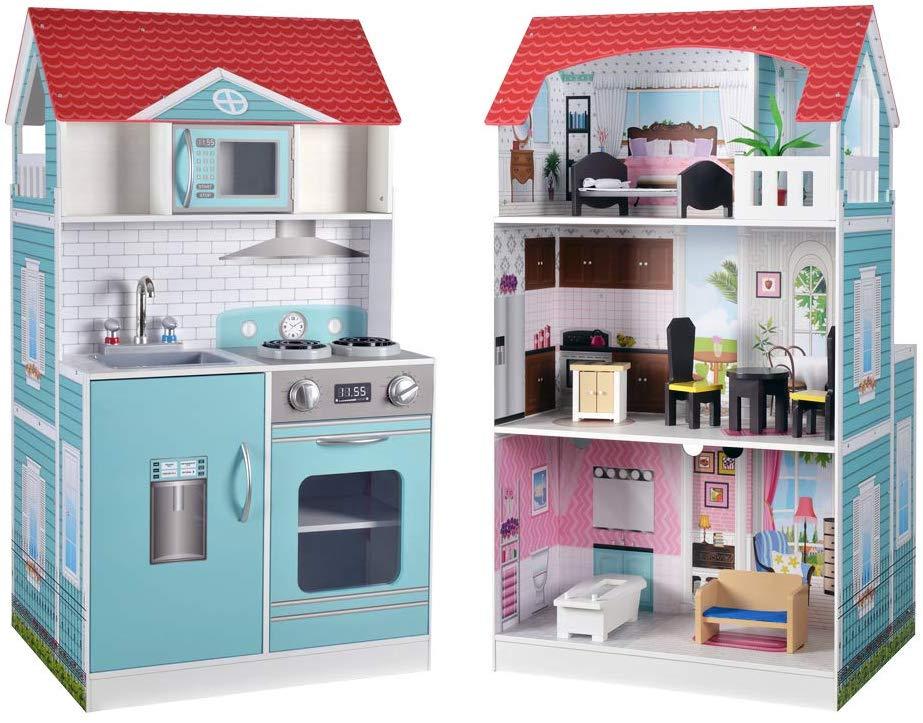 Cocina y Casa de muñecas de madera 2 en 1 ColorBaby 85292