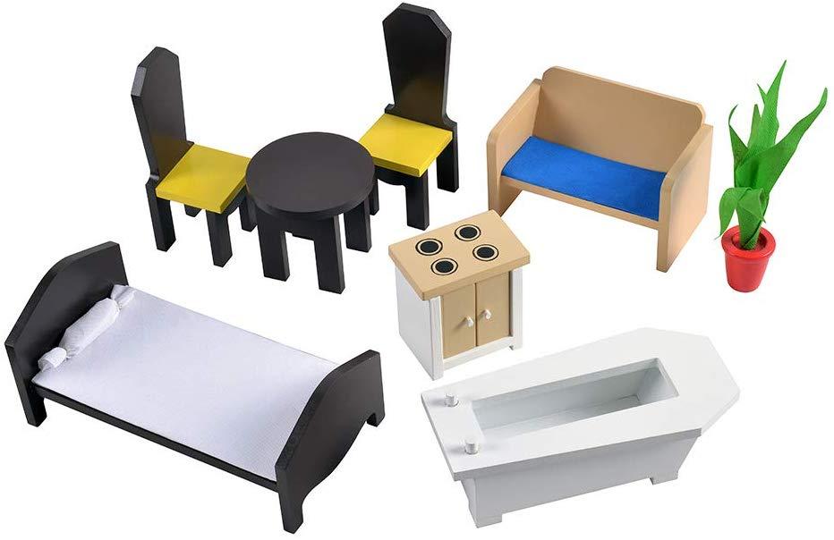 Cocina y Casa de muñecas de madera 2 en 1 ColorBaby muebles incluidos