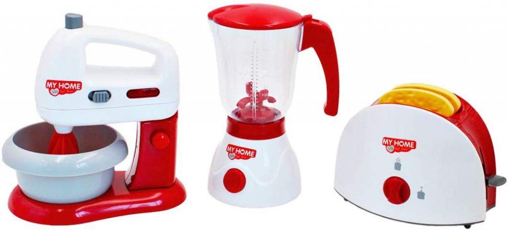 Pack tres utensilios eléctricos de cocina de juguete deAO My home life (batidora, tostadora y licuadora)
