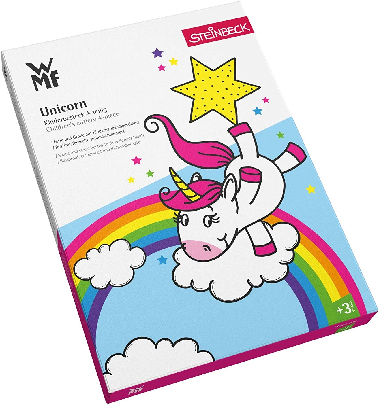 Cubertería infantil de acero inoxidable, 4 piezas, WMF Unicornios caja