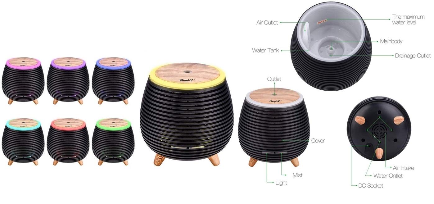 Difusor de aceites esenciales Ckeyin con luces led, detalles