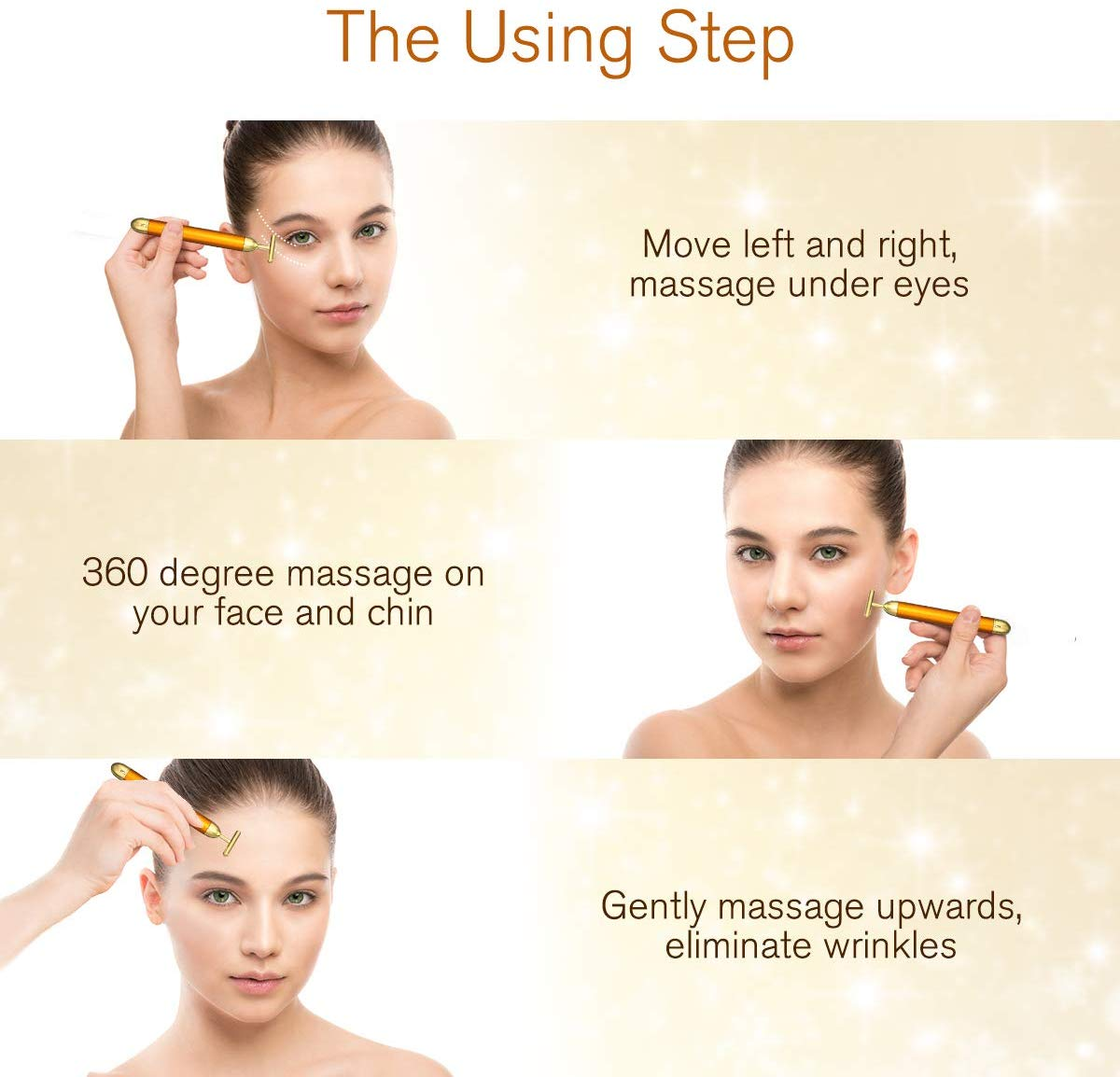 Masajeador facial 24k Gold LIUMY uso en cara, cuello y escote