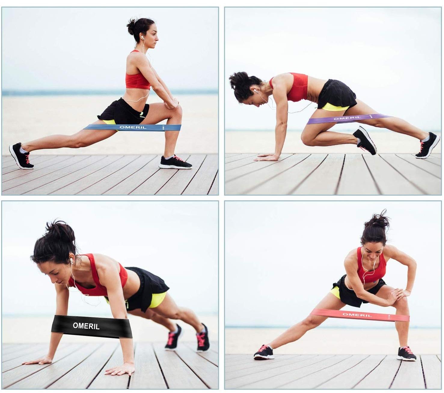Pack 4 bandas de resistencia elásticas OMERIL, ejercicios
